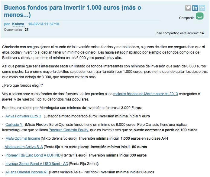 Fondos invertir 1000 euros