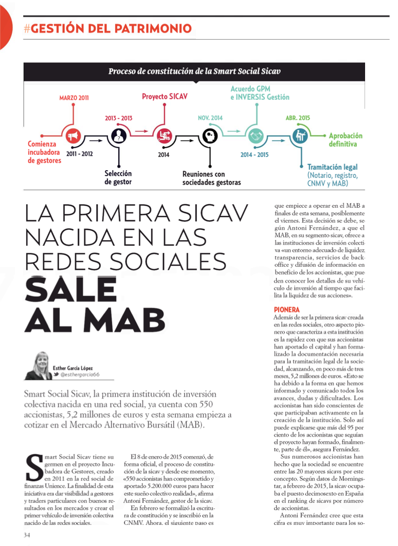 Smart social sicav en la revista inversi n finanzas en for Smart social sicav