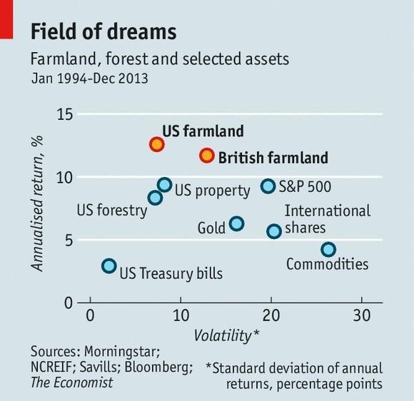 Mapa de rentabilidad-riesgo activos financieros versus agricolas-forestales