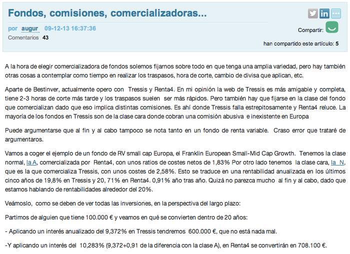 Fondos comisiones comercializadora